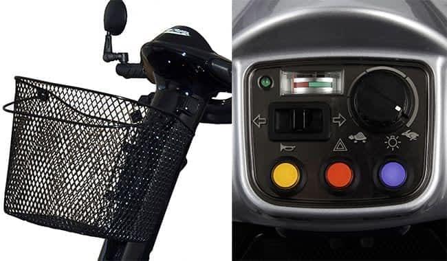 Le panier et le tableau de bord fonctionnel de scooter électrique senior Kymco Super 6 et 8